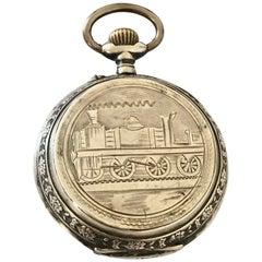 "Antique Full Engraved ""Steam Train"" Silver Case Pocket Watch"