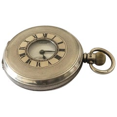 Antique Full Hunter Engine Turned Case Silver Pocket Watch BY J.W. Benson London
