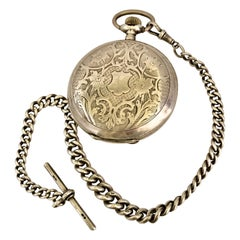 Antique Full Hunter Engraved Silver Pocket Watch Signed Udovic Watch Co.