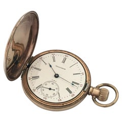 Antique Full Hunter Gold-Plated Waltham Pocket Watch