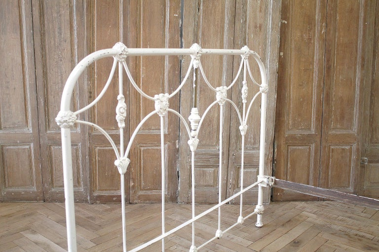 Antique Full Size White Painted Iron Bed with Brass Accents For Sale 10