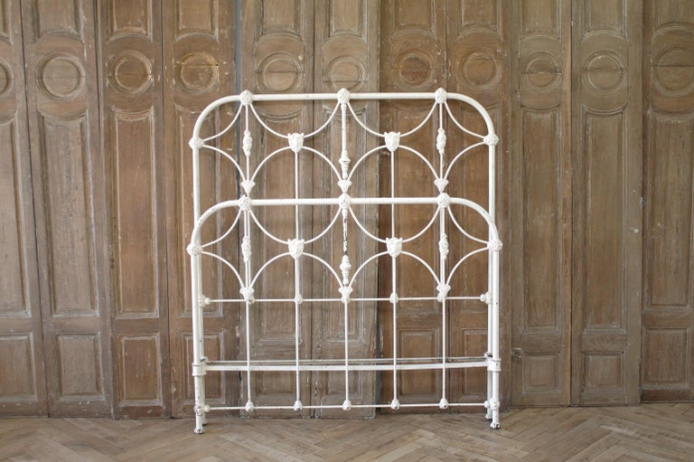Antique Full Size White Painted Iron Bed with Brass Accents For Sale 11