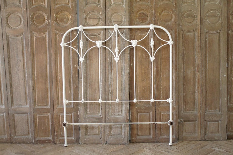 Antique Full Size White Painted Iron Bed with Brass Accents For Sale 12