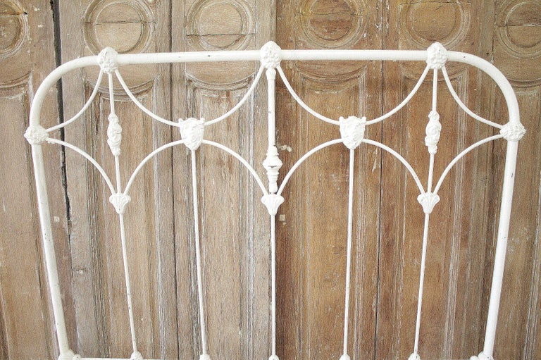 Victorian Antique Full Size White Painted Iron Bed with Brass Accents For Sale