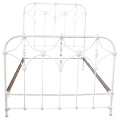 Antique Full Size White Painted Iron Bed with Brass Accents