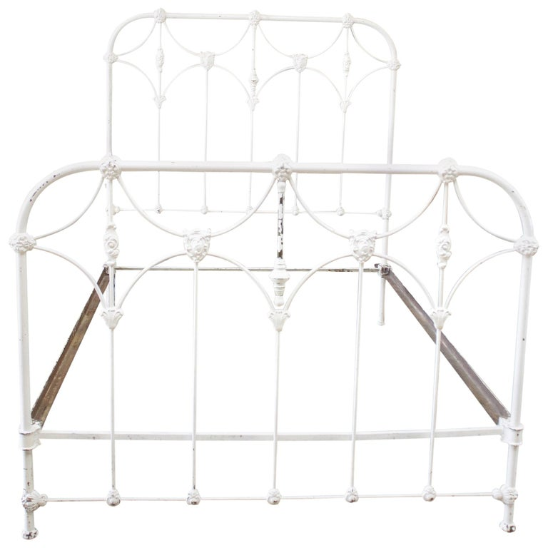 Antique Full Size White Painted Iron Bed with Brass Accents For Sale