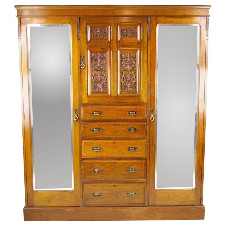 Antike Möbel Schrank Viktorianisch Geschnitzte Walnussholz
