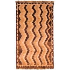 Antique Gabbeh Geometric Beige Brown Wool Persian Rug
