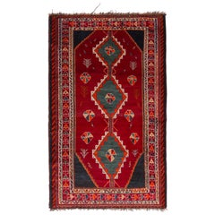 Antique Gabbeh Geometric Red and Blue Wool Persian Rug