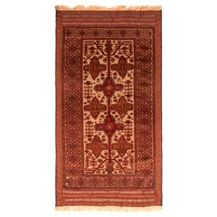 Antique Gabbeh Geometric Tan and Red Wool Rug