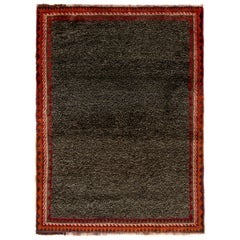 Antique Gabbeh Transitional Gray and Red Wool Persian Rug
