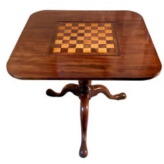 Antique Game Table Chessboard Birdcage Mahogany Satinwood Tripod England