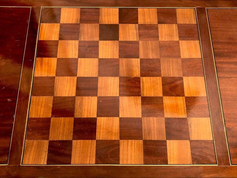 French Antique Game Writing Table Chess Backgammon Walnut Mahogany Leather, France For Sale