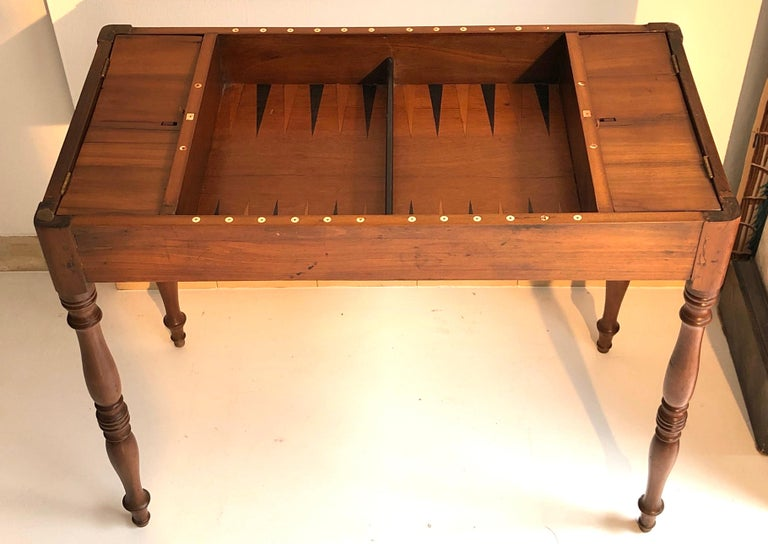 Embossed Antique Game Writing Table Chess Backgammon Walnut Mahogany Leather, France For Sale