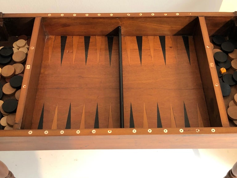 Mid-19th Century Antique Game Writing Table Chess Backgammon Walnut Mahogany Leather, France For Sale