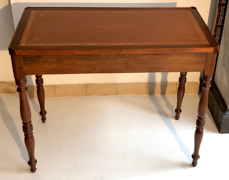 Antique Game Writing Table Chess Backgammon Walnut Mahogany Leather, France For Sale 2