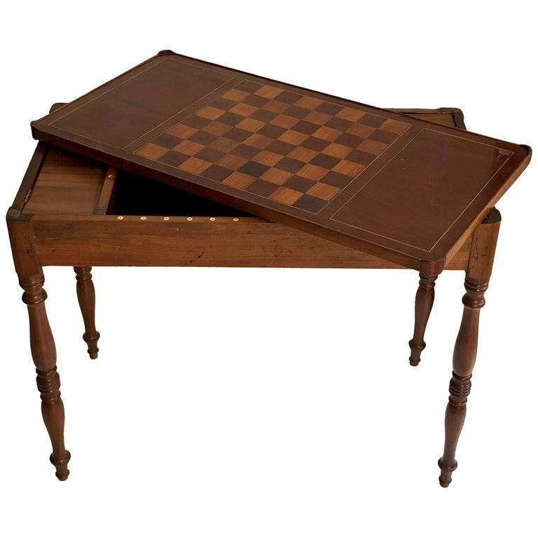 Antique Game Writing Table Chess Backgammon Walnut Mahogany Leather, France For Sale