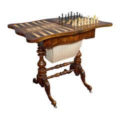 Antique Games Table, English, Walnut, Burr, Chess, Backgammon, Victorian