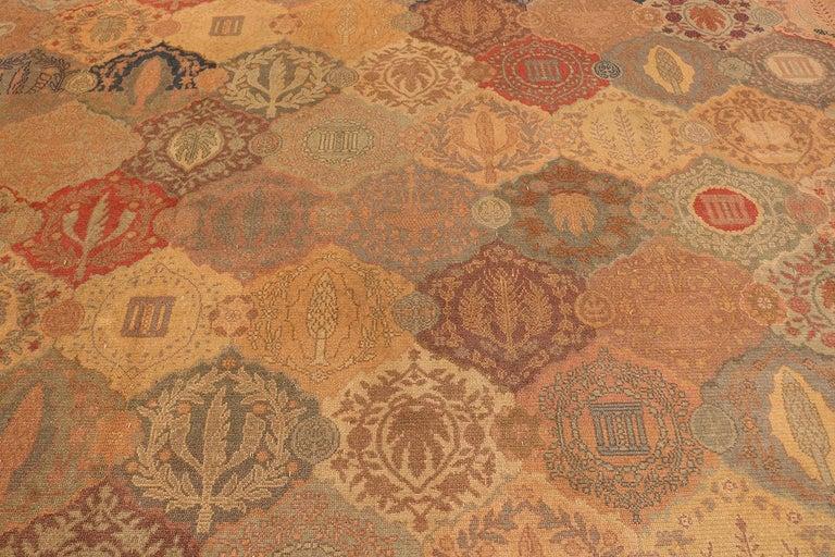 Antique oversized Israeli Bezalel carpet, origin: Israel, circa: first quarter of the 20th century. Size: 15 ft 9 in x 17 ft 10 in (4.8 m x 5.44 m)