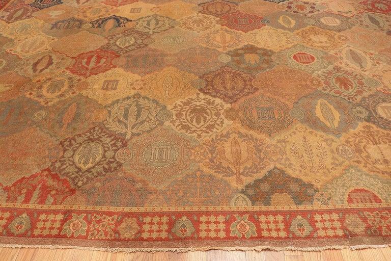 Art Nouveau Antique Garden Design Israeli Bezalel Carpet. Size: 15 ft 9 in x 17 ft 10 in For Sale