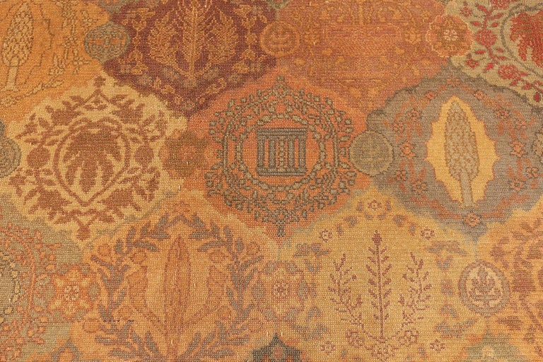 Hand-Knotted Antique Garden Design Israeli Bezalel Carpet. Size: 15 ft 9 in x 17 ft 10 in For Sale