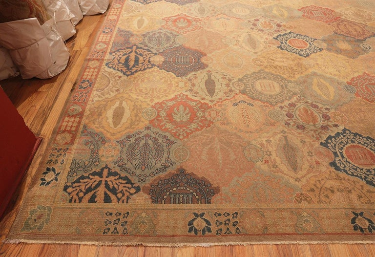 Antique Garden Design Israeli Bezalel Carpet. Size: 15 ft 9 in x 17 ft 10 in In Excellent Condition For Sale In New York, NY