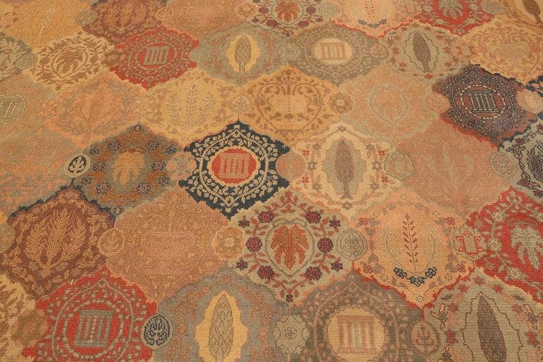 20th Century Antique Garden Design Israeli Bezalel Carpet. Size: 15 ft 9 in x 17 ft 10 in For Sale