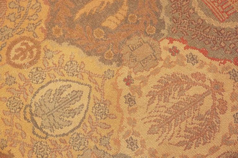 Wool Antique Garden Design Israeli Bezalel Carpet. Size: 15 ft 9 in x 17 ft 10 in For Sale