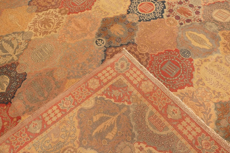 Antique Garden Design Israeli Bezalel Carpet. Size: 15 ft 9 in x 17 ft 10 in For Sale 2
