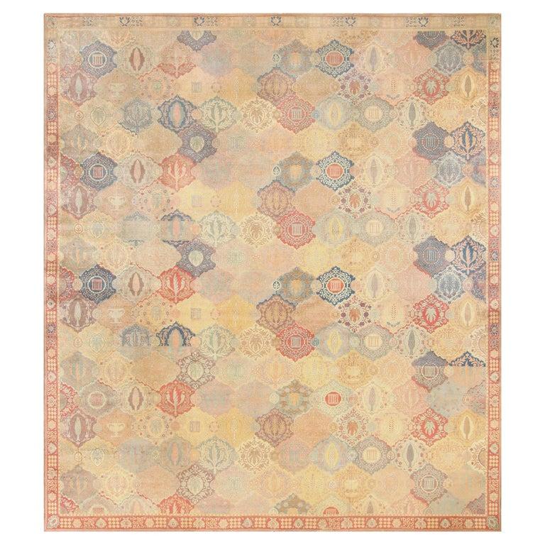 Antique Garden Design Israeli Bezalel Carpet. Size: 15 ft 9 in x 17 ft 10 in For Sale