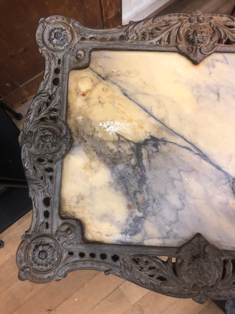 Antique Garden Side Authentic Rich Table, Marble Top, 1820 For Sale 6