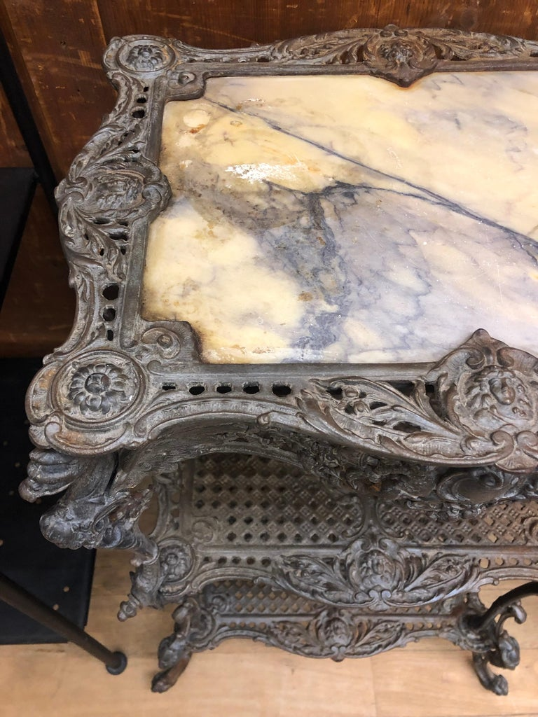 French Antique Garden Side Authentic Rich Table, Marble Top, 1820 For Sale
