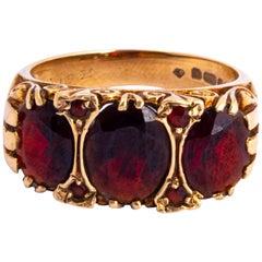 Antique Garnet and 9 Carat Gold Three-Stone Ring