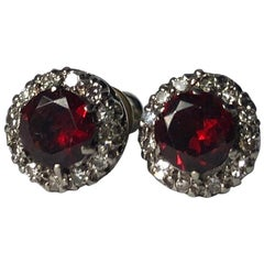 Antique Garnet and Diamond 18 Carat White Gold Cluster Stud Earrings