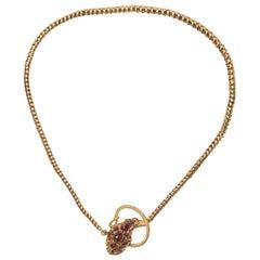 Antique Garnet and Gold Snake Necklace, Circa 1840