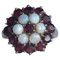 Antique Garnet and Opal 9 Carat Gold Cluster Panel Ring
