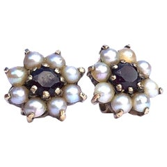 Antique Garnet and Pearl 9 Carat Gold Cluster Earrings