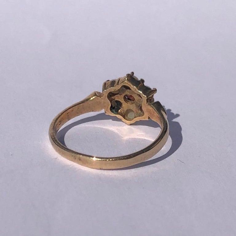 Edwardian Antique Garnet and Pearl 9 Carat Gold Cluster Ring For Sale