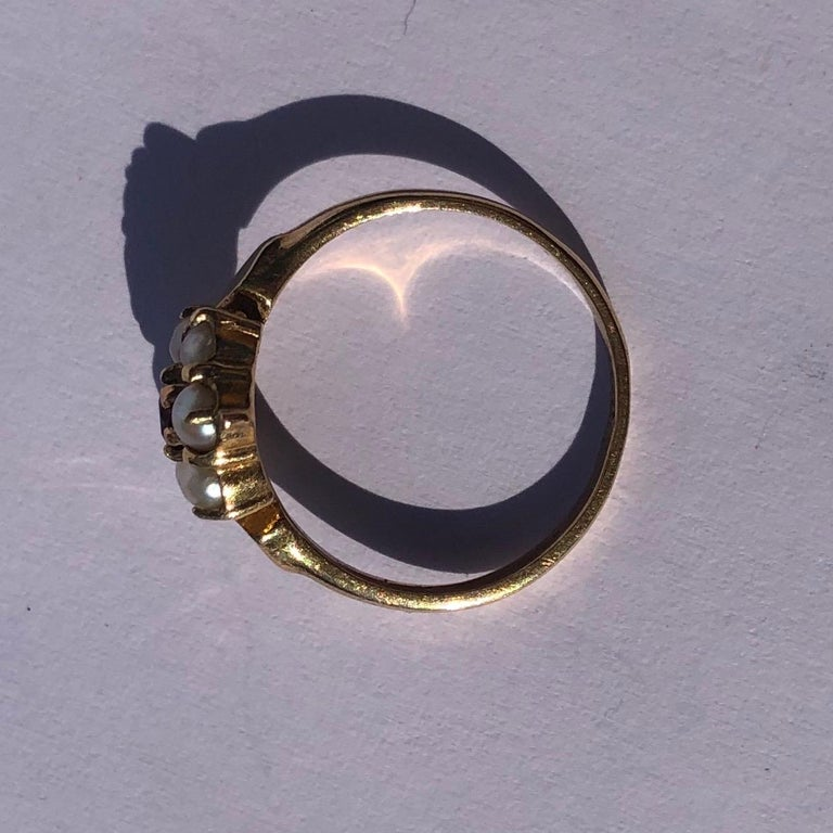 Round Cut Antique Garnet and Pearl 9 Carat Gold Cluster Ring For Sale