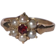 Antique Garnet and Pearl 9 Carat Gold Cluster Ring