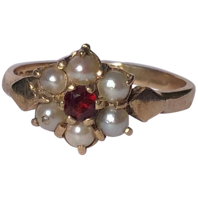 Antique Garnet and Pearl 9 Carat Gold Cluster Ring For Sale
