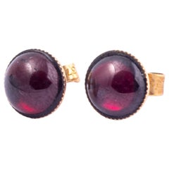 Antique Garnet Cabochon and 9 Carat Gold Stud Earrings