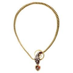 Antique Garnet Diamond and Gold Snake Necklace, Circa 1860