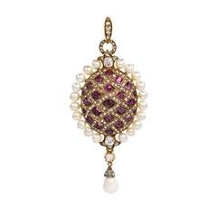 Antique Garnet, Pearl, and Diamond Lattice-Design Pendant, Locket Back