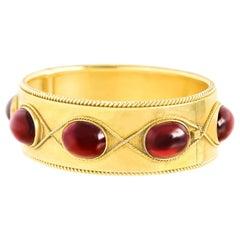 Antique Garnet Set Gold Bracelet