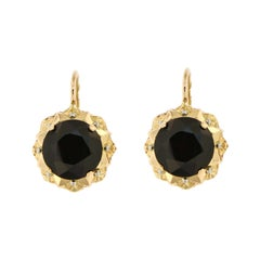 Antique Garnet White Yellow Gold Earrings Handcrafted in Italy
