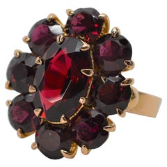 Antique Garnet Yellow Gold Cluster Ring