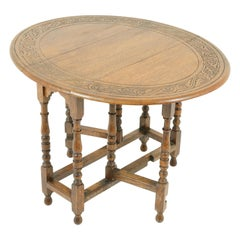 Antique Gateleg Table, Carved Drop Leaf Table, Scotland 1930, B1717