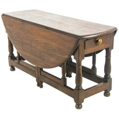 Antique Gateleg Table, Drop-Leaf Table, Oak, Scotland, 1800  REDUCED!!