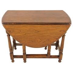 Antique Gateleg Table, Oak, Oval Drop Leaf Table, Scotland, 1920